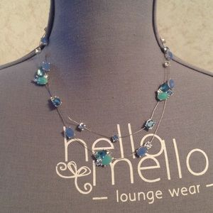 Nine West Silver Wire Blue Beads Necklace